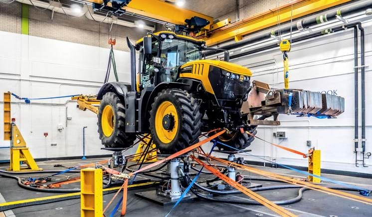 JCB on a ride simulator test rig structural test laboratory at Millbrook