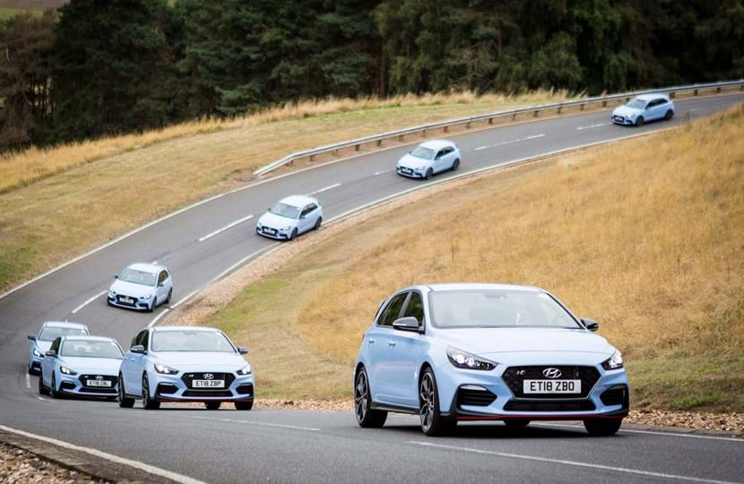 Hyundai vehicles on Hill Route at Millbrook Proving Ground for dealer event