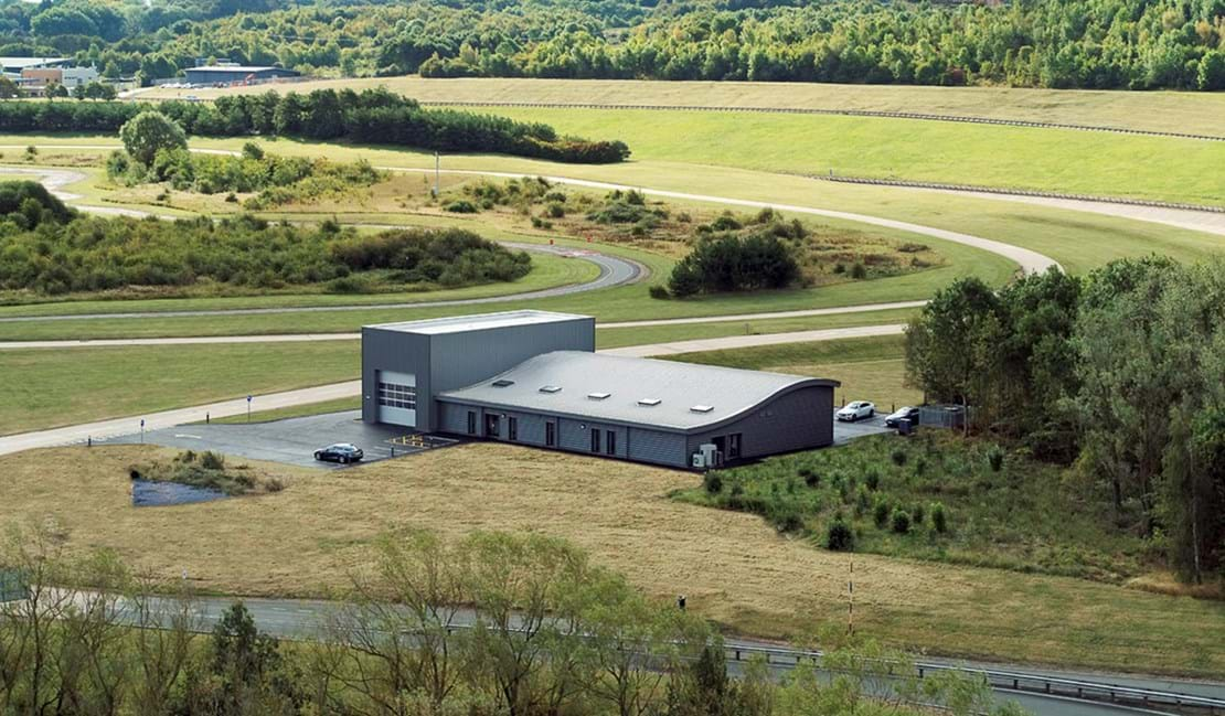 Aerial view of workshops for hire at Millbrook Proving Ground's technology park autonomous car test facility