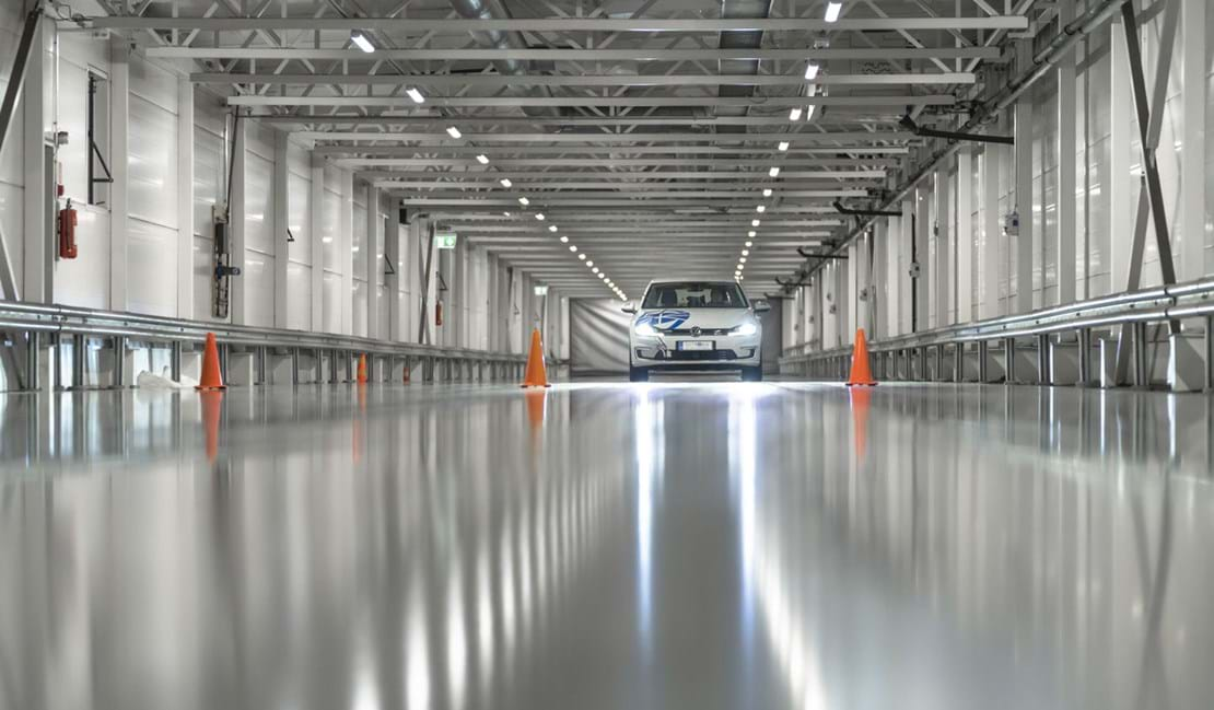 Test World's indoor winter test facility conducting ice grip tyre testing