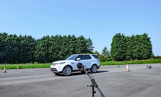 Vehicle pass-by noise measurement test at Millbrook Proving Ground