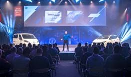 Nissan presentation at corporate event in Concept 1 at Millbrook