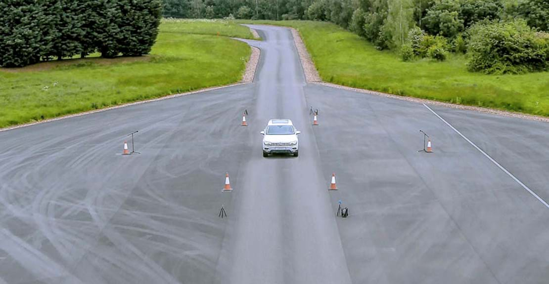 Pass-by noise measurement test on a car at Millbrook Proving Ground