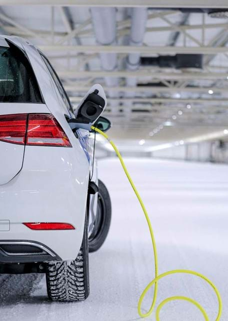 Electric vehicle cold weather test in an indoor winter test facility at Test World in Ivalo, Finland