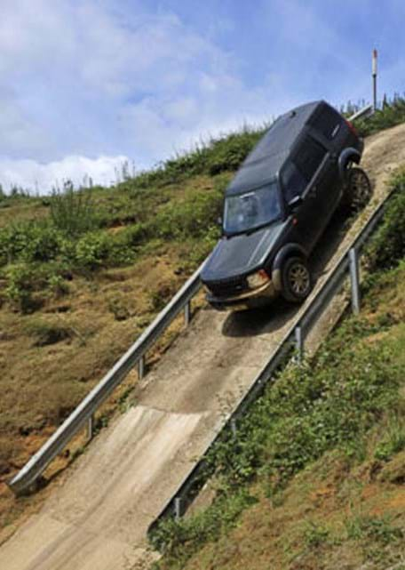 Vehicle stability test on the off-road slope at Millbrook