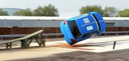 Rollover crash test at Millbrook against FMVSS 208 test procedure