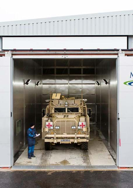 Large climatic chamber military vehicle environmental testing at Millbrook Proving Ground