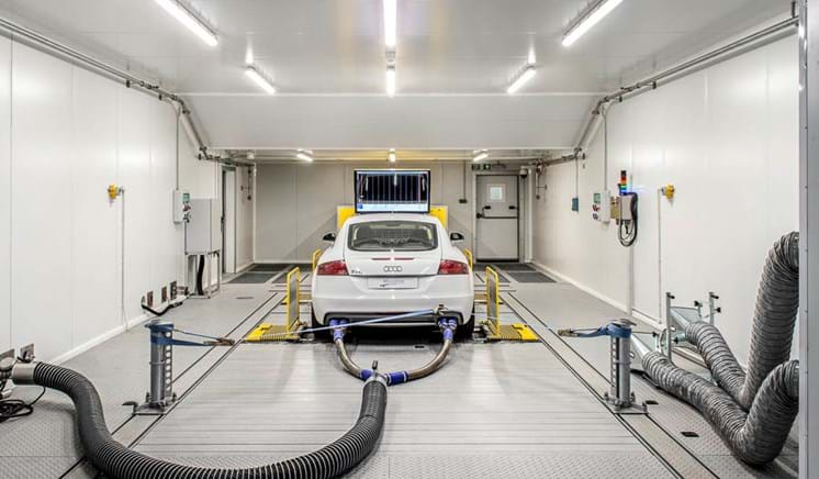Car in a 4WD climatic chassis dynamometer emissions test facility at Millbrook Proving Ground