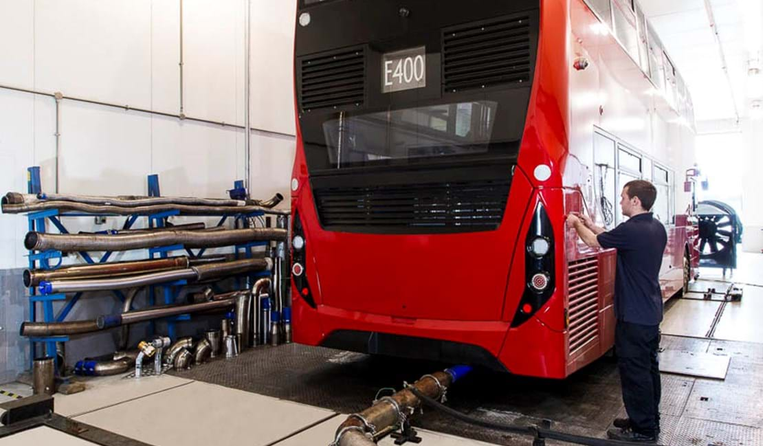 Bus emissions test engineer working in the VTEC at Millbrook Proving Ground