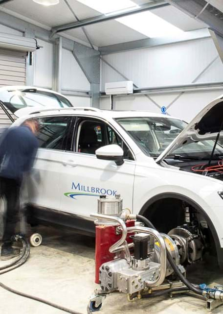 Hub dynamometer vehicle testing at Millbrook