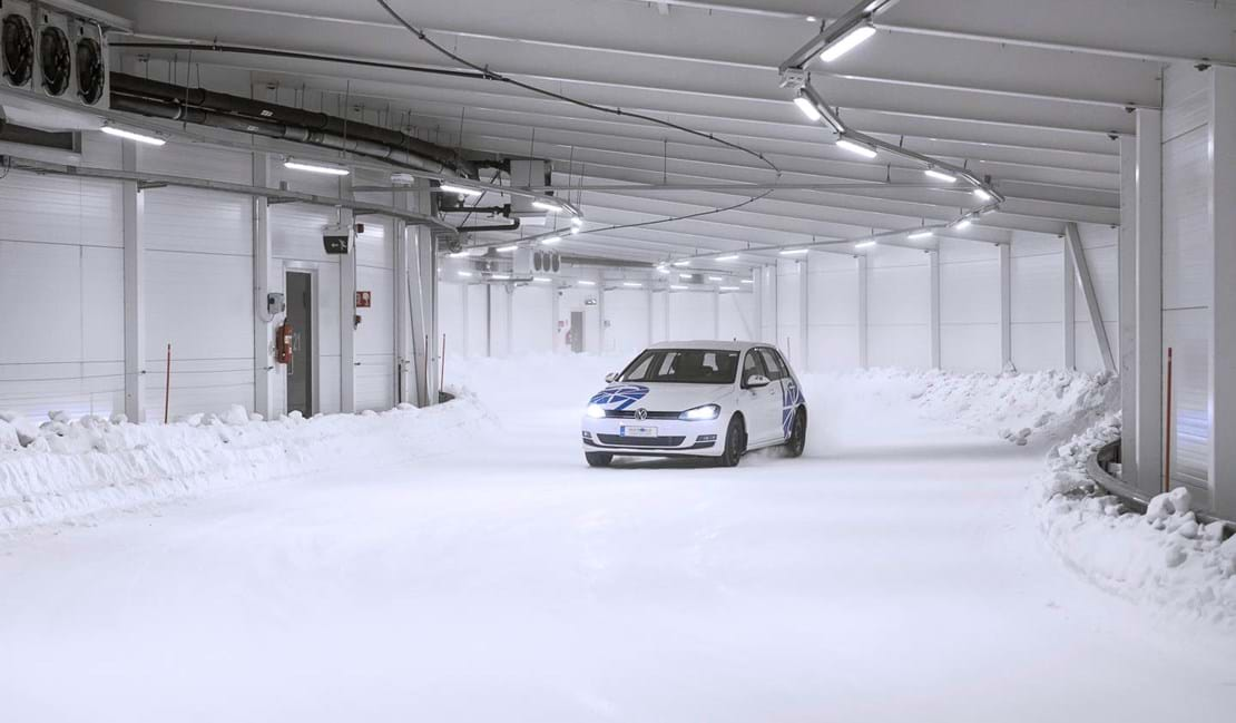 Indoor tire snow handling test on a winter proving ground track at Test World, Ivalo, Finland