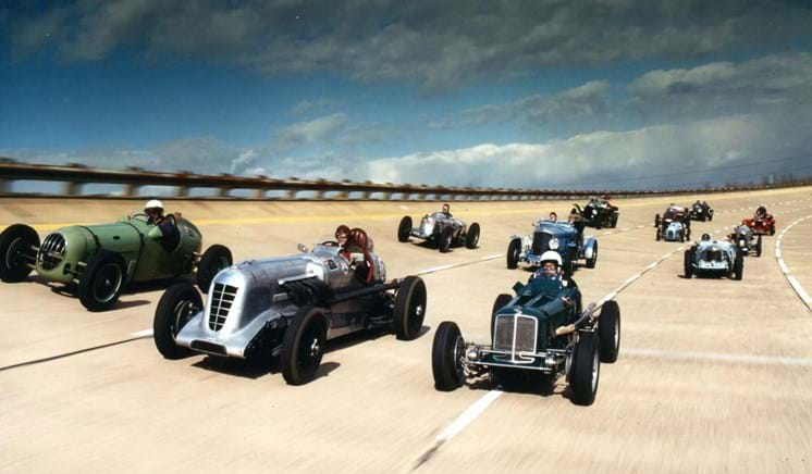 Old vintage cars on the High Speed Circuit at Millbrook Proving Ground
