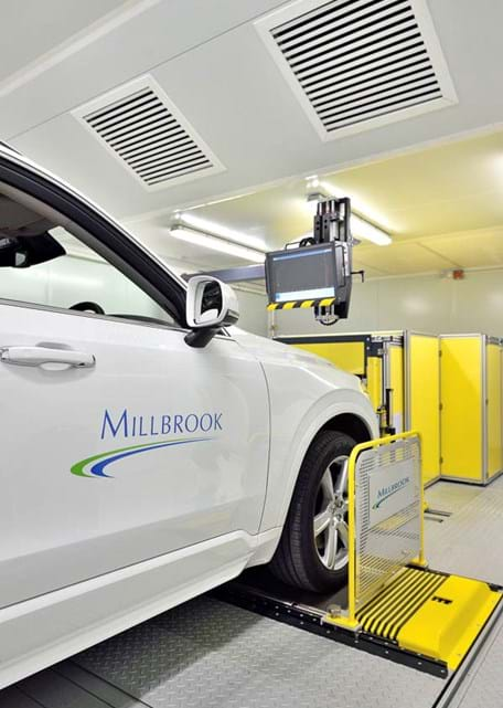 Vehicle in a WLTP emissions testing facility with 4WD chassis dynamometer at Millbrook Proving Ground