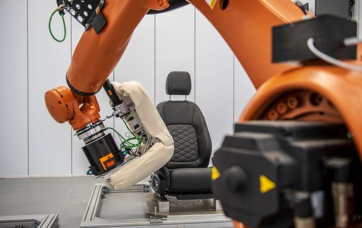 KUKA robot in an automotive seat testing laboratory at Millbrook