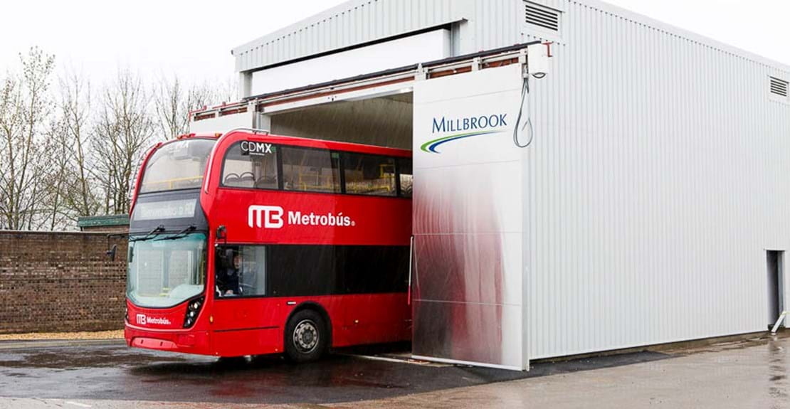 Large climatic chamber bus vehicle environmental testing at Millbrook