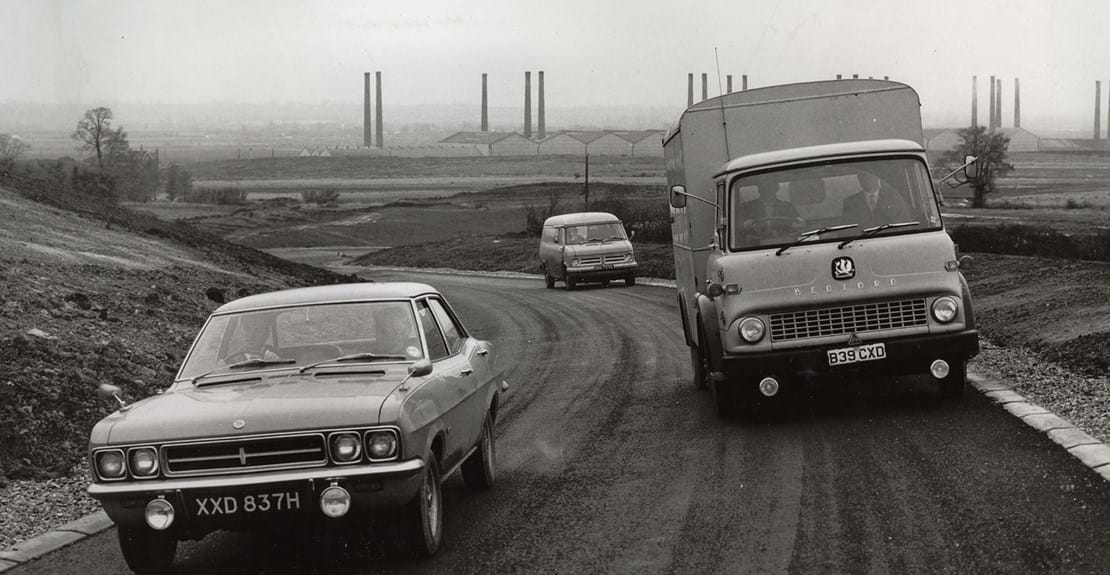 Vauxhall and Bedford Truck on tracks at Millbrook Proving Ground 1970s